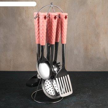 Набор кухонных принадлежностей 6 предметов «вивьен розовый» на подставке
