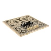 Нарды шашки шахматы 3 в 1 дерево светлое 48*24*3,5 см. узор