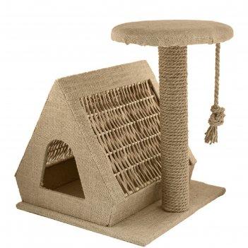 Домик-когтеточка шалаш двухскатный, лоза, холст, джут, 53 х 43 х 50,5 см,