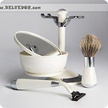 Набор для бритья перламутр и серебро совместим с gillette mach-3