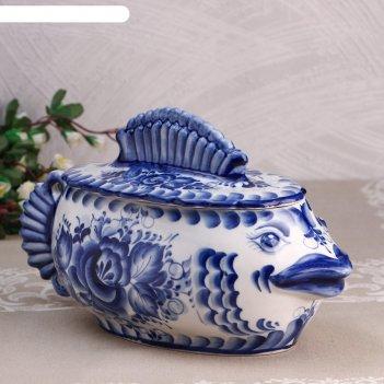 Супница рыба, 34х16х20см,  2,5л, гжель