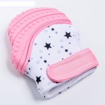 Прорезыватель рукавичка «звездочка», на липучке, цвет микс