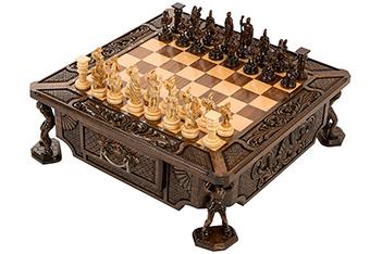 Шахматы резные в ларце атлант, haleyan 54х54см