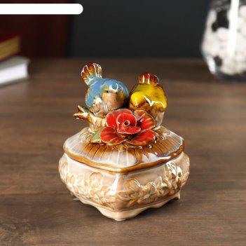 Шкатулка керамика воробьи с цветком микс 11,7х10х10 см