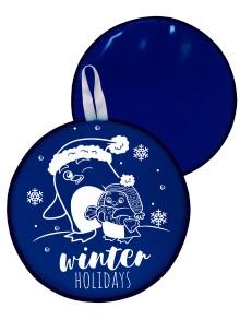 Мт11317 сани-ледянка круглая пингвины цвет синий, 46,5см