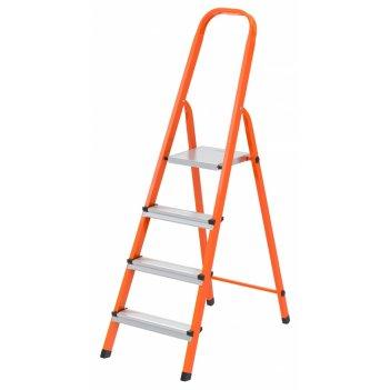 Стремянка, 4 ступени, стальной профиль, ступени сталь, оранжевая, россия,