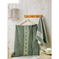 Набор для сауны мужской (килт, полотенце 50х90 см), цвет тёмно-зелёный