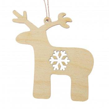 Новогодний подвес олень со снежинкой, бежевый, 7 см + нитка