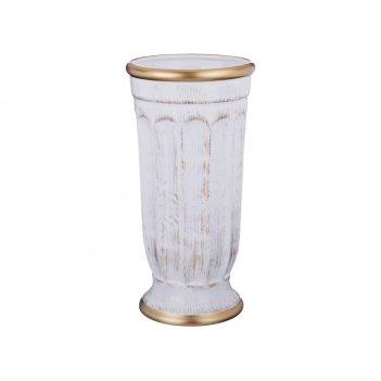 Ваза малая элеганс белая с золотом высота=28 см.диаметр=14 см.