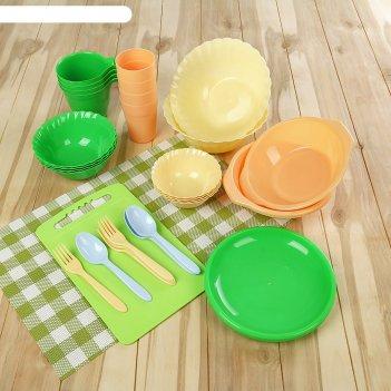 Набор посуды для пикника на 4 персоны «весёлая компания», 36 предметов