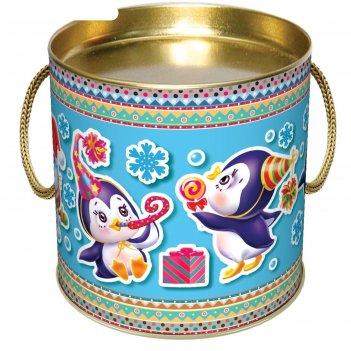 Подарочная коробка-тубус пингвинята, 12 х 12 х 4,5 см