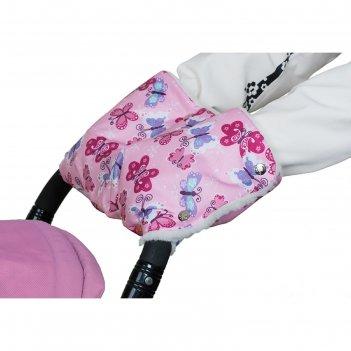 Муфта для рук на коляску меховая, принт бабочки мкм17-000