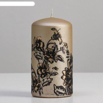 Свеча - цилиндр пионы, 7х13 см, шампань