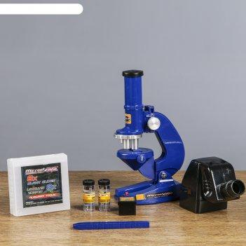 Микроскоп сувенирный отличник 100х-200х-450х, 8 стекол, пинцет, 2 баночки,