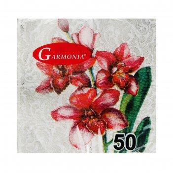 Салфетки бумажные гармония цвета многоцветие орхидея 50 л   863454