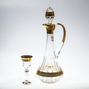 Набор для ликера 7 предметов хрусталь с золотом max crystal