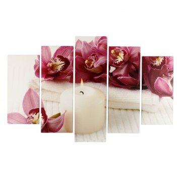 Модульная картина орхидеи у свечи (2-25х50, 2-25х67, 25х80 см) 80х140 см