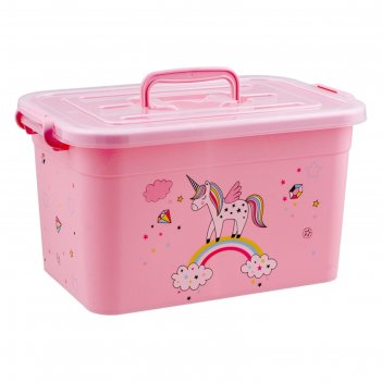 Контейнер для игрушек «радуга» с крышкой и ручками, 10 л, микс