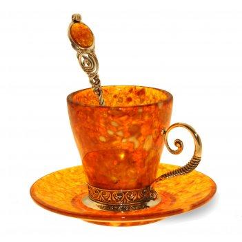 Кофейный набор антик из янтаря (на 4 персон)