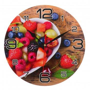 Часы настенные круглые ягодная любовь, 24 см