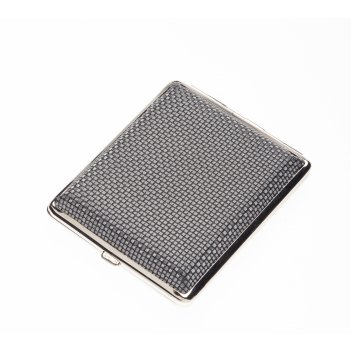 Портсигар s.quire, сталь+искусственная кожа, черный цвет с рисунком