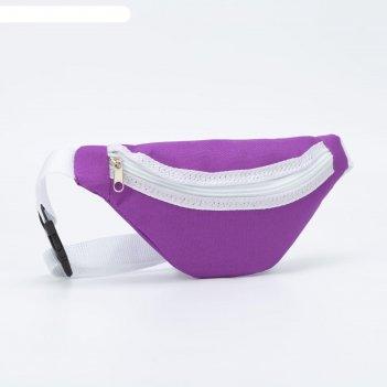 Сумка поясная, отдел на молнии, цвет фиолетовый