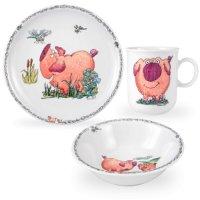 Сервиз детский 3 предм. piggeldy (кружка, тарелка 20 см, сал