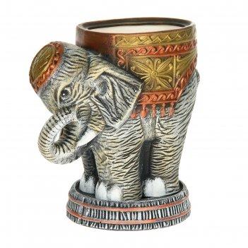 Кашпо слон среднее серый акрил 7л