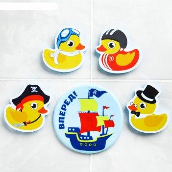 Набор eva игрушек для ванны 4шт + мини-коврик утиная команда