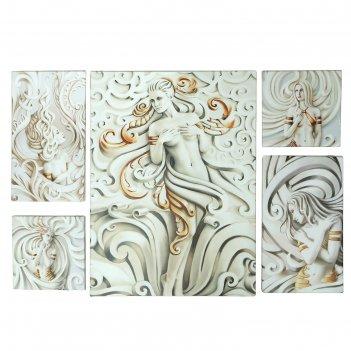Модульная картина девушки 100х70 см (23х23 - 2шт, 23х42 - 2шт, 71х52 - 1 ш