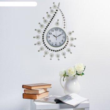 Часы настенные интерьерные пластик+металл, в виде капли с завитками, белый