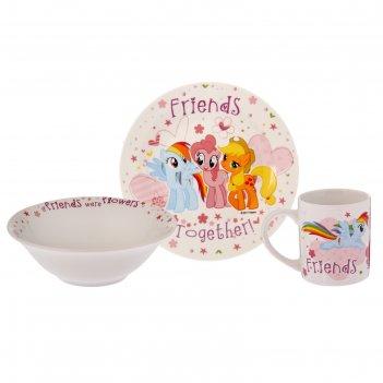Набор my little pony, 3 предмета: кружка 240 мл, миска 18 см, тарелка 19 с