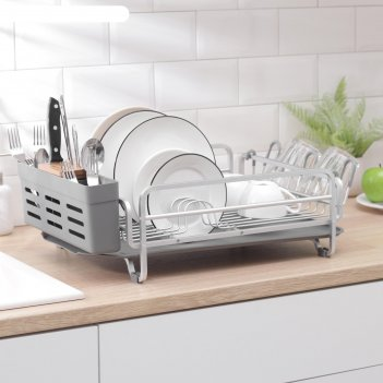 Сушилка для посуды и столовых приборов с поддоном, 52x35,5x16 см, цвет сер