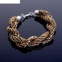 Браслет из бисера плетение жгут, цвет золотой в серебре