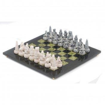 Шахматы северные народы змеевик мрамолит 400х400 мм