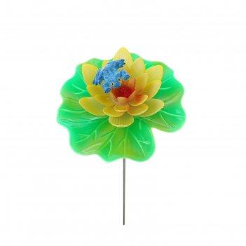 Декор садовый лотос, штекер 60 см, микс цвета