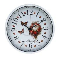 Часы настенные классические круглые пионы и бабочки эффект кракелюра 30х30