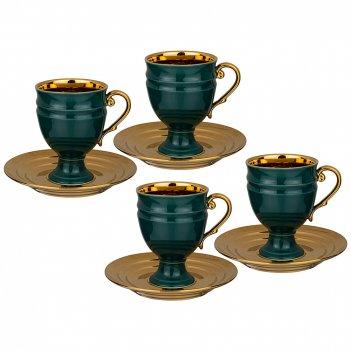 Чайный набор lefard на 4 персоны 8 пр. 250 мл зеленый