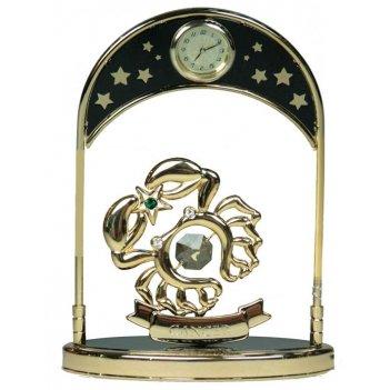 Фигурка декоративная с часами - знак зодиака рак 14см
