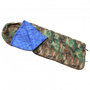 Спальный мешок с капюшоном одеяло, комбинированный, размер 80 х 180 см