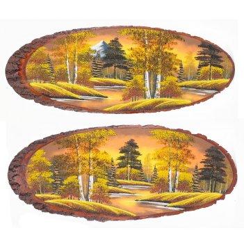 Панно на срезе дерева осень янтарная горизонтальное 95-100 см