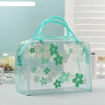 Косметичка-сумка банная цветочки, 2 ручки, цвет зелёный