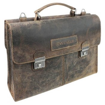 Портфель двусторонний wenger arizona, коричневый, кожа, 40x11x31 см