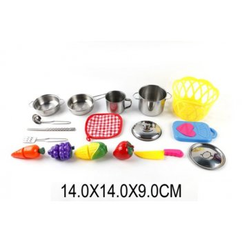 Набор мет.посуды с продуктами для резки.