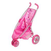 Коляска для куклы прогулочная розовая (поворотные передние колеса) 22-1204