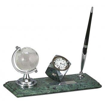 Настольный набор: глобус из стекла, ручка шариковая, часы из меди, на мрам