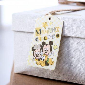 Шильдик на подарок (6 шт.) мамино счастье: микки маус,  5x9 см