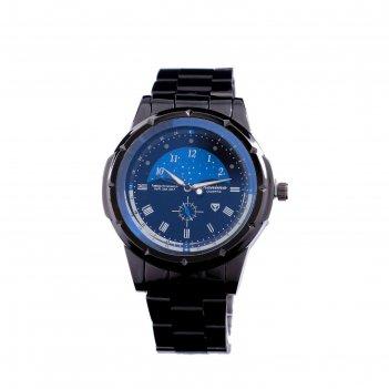 Часы наручные kanima 2891, d=4.7 см, чёрные с синим