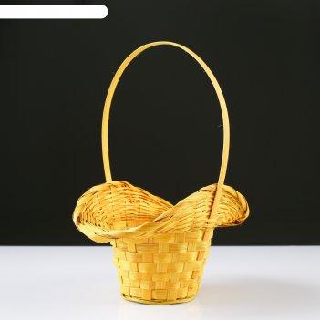 Корзина плетёная, бамбук, жёлтая, с изгибом, (шляпка)