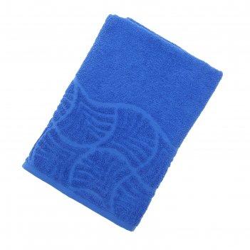 Полотенце махровое банное волна, размер 70х130 см, 300 г/м2, цвет синий